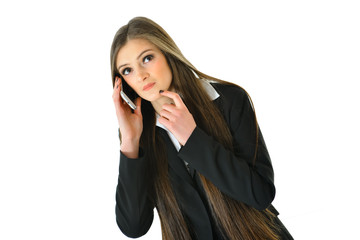 Business Woman on Phone Thinking
