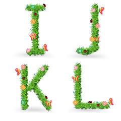Vector grass font creative ecological concept