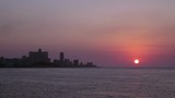 Skyline and sunset in La Habana, Cuba with Caribbean sea