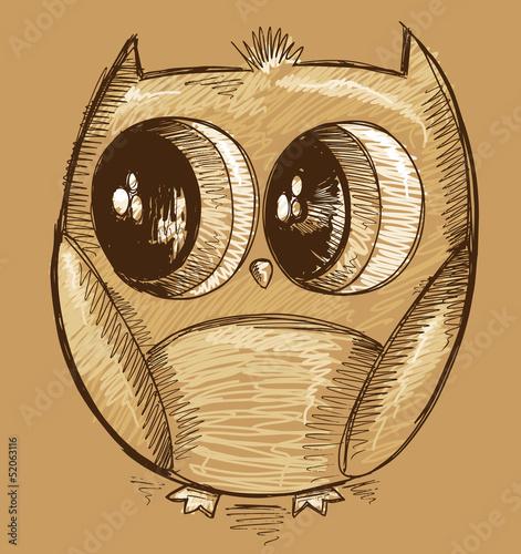 Cute Doodle Sketch Owl Vector Art