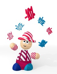 3d graphic of a happy discount sign juggled by a clown