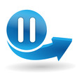 pause sur bouton web bleu