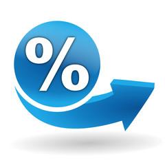 pourcentage sur bouton web bleu