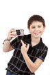 small boy showing analog camera