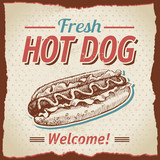 Vintage hot dogs background