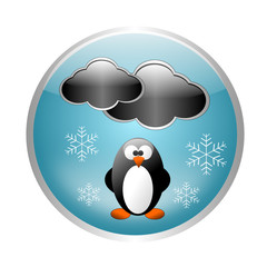 Snow button with penguin - Weather icon