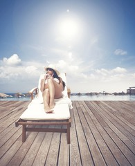 Girl relaxing on a beach