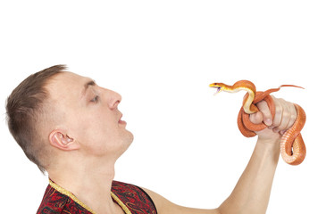 Man with Red Texas rat snake