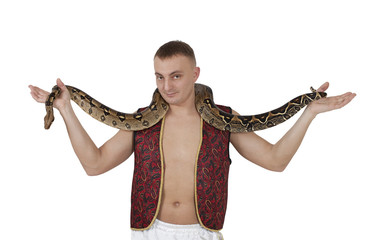 Young man with boa snake