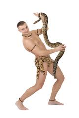 Man with boa snake