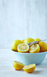 Still life with lemons in a bowl