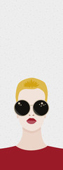 Blonde girl with sunglasses