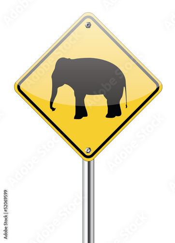 Elephant warning traffic sign