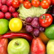 bright background  of vegetables and fruits