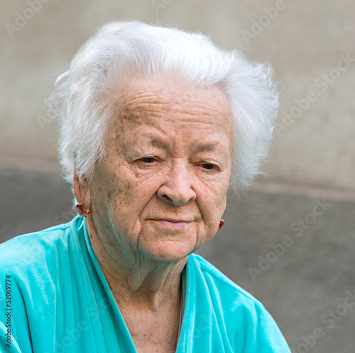 Old sad woman