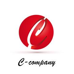 Vector Logo spherical letter C 3d