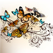Beautiful vector background with butterflies and ornament
