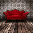 Empty Red Couch - 52071318