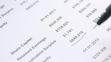 analyzing of financing statement closeup