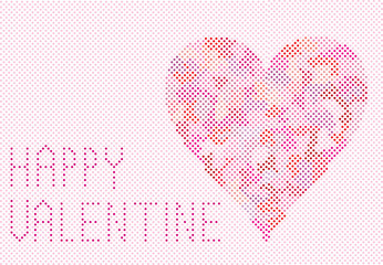 valentine card design with heart made of dots