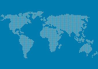 vector world map made of white dots on blue