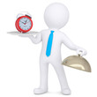 3d man holding red alarm clock on platter