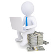 3d man with laptop sitting on a pile of money