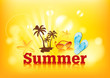 Beautiful yellow summer background, illustration.