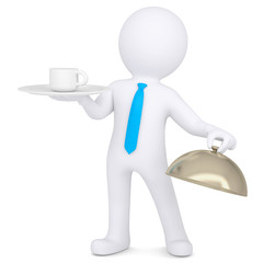 3d man holding a coffee cup on a platter