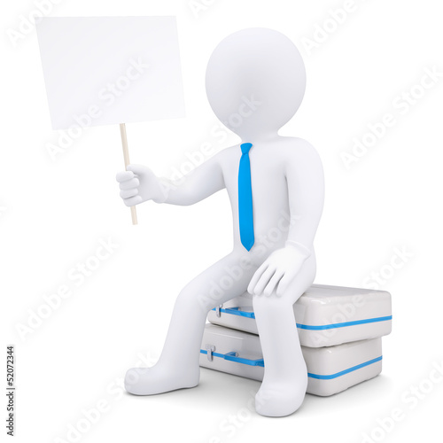 3d man sitting on suitcase and holds the poster