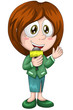 Girl woman journalist microphone character cartoon style vector