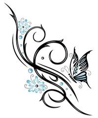 Tribal, Blüten, Schmetterling, hellblau