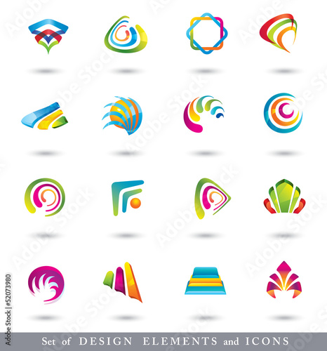 Set of Abstract Design Elements or Icons.
