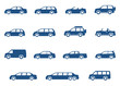 Cars icons set. Vector silhouettes of vehicles