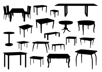 Set of table silhouettes