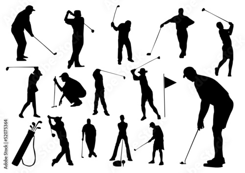 Set of golf players silhouettes