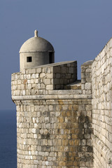 Guard place on the seaside on the Dubrovnik city walls