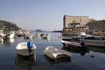 Dubrovnik old city harbor with St John fort