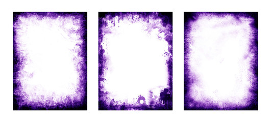 Set di cornici e pattern di colore viola, 3 elementi