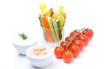 Assorted fresh vegetables (celery, cucumber and carrot)