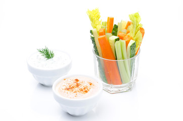 Assorted fresh vegetables in a glass