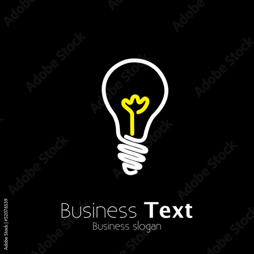 Bright lightbulb icon symbol on black background- vector graphic