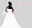 Bridal shower invitation with bride's silhouette
