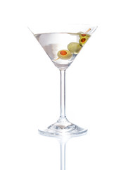 Martini mixed drink with olive