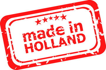 Red rubber stamp of made in holland