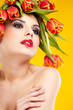 beauty woman portrait with wreath from flowers on head ogange  b