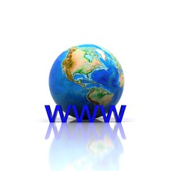 "3D illustration - globe with written ""WWW"""