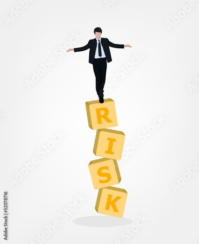 Man balance on risk box