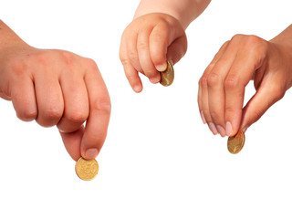 Hands with coins.