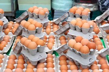 Chicken eggs at a market in Birmingham, UK